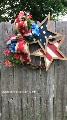 Patriotic Wreath, Americana Decor, Fourth of July Wreath, Memorial Day - Summer wreath - Fourth Of July Decor, 4th Of July Decorations, July 4th, 4th Of July Wreaths, 4th Of July Ideas, Americana Decorations, Memorial Day Decorations, Memorial Day Wreaths, Birthday Decorations