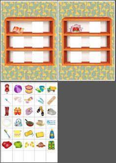Clasificar los objetos en la estantería que corresponda
