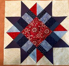 potholders Make One or Several for a Special Project! This striking block is the first block of the Benjamin Franklin Mystery quilt from Erik Homemade. Its a stunning block that can be use Bandana Quilt, Star Quilt Patterns, Pattern Blocks, Flying Geese, Crazy Quilting, Quilting Projects, Quilting Designs, Scrap Quilt, Vogel Quilt