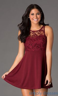 Bridesmaid- Short Sleeveless Lace Embellished Dress at SimplyDresses.com