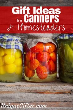 For the past few years, I have been canning things. I have also tried my hand at making cheese, dehydrating things and of course I enjoy woodworking, too. Building up an arsenal of tools to make these things, or to keep making these things, can take a little while. Here is a selection of gift ideas for canners and urban homesteaders. http://uniquegifter.com/gift-ideas-canners-urban-homesteaders/ Gift basket Ideas #giftbasketideas #giftbaskets