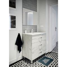 6075f3dbd5290c STELLA Ensemble salle de bain simple vasque avec miroir L 80 cm - Blanc  effet bois