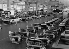 1966 Lamborghini Miura assembly line if I had to live in a factory, this would be it! Lamborghini Factory, Lamborghini Miura, Lamborghini Diablo, Bugatti, Auto Volkswagen, Volkswagen Group, Jets, Assembly Line, Hot Cars