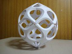 Curved folding module by Kota Hiratsuka Origami Paper Folding, Origami And Kirigami, Origami Ball, Mobile Sculpture, Book Sculpture, Cardboard Crafts, Paper Crafts, Paper Folding Techniques, Paper Structure