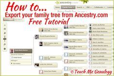 How To Export Your Family Tree From Ancestry Genealogy Quotes, Genealogy Websites, Genealogy Research, Family Genealogy, Genealogy Forms, Genealogy Chart, Family Tree Research, Family Tree Chart, Family Trees