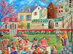 Peinture naïve Marie Claude Bosc : Noce à Montmartre