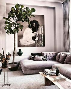 This room almost looks like it has a filter. I love the grayish pink color going on in the entire room. It harmonizes together so well.
