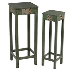 Perfect for displaying lush florals or as a spot for essentials in a narrow hallway, these weathered green plant stands showcase industrial-inspired riveted . Large Plants, Green Plants, Potted Plants, Vintage Vibes, Joss And Main, Accent Decor, Plant Stands, Diy Home Decor, Home Improvement