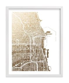 """""""Chicago Map"""" - Foil-pressed Art Print by Alex Elko Design in beautiful frame options and a variety of sizes."""
