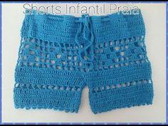 Shorts de crochê - YouTube                                                                                                                                                                                 Mais Crochet Lingerie, Bikinis Crochet, Crochet Bikini Pattern, Crochet Bikini Top, Knit Crochet, Crochet Baby, Crochet Pants, Crochet Clothes, Short Tejidos