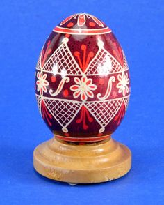 Polish Pysanky Egg Hand Painted Decorated Vintage Easter Blown Out Chicken Egg 20481 by JacksonsMarket on Etsy