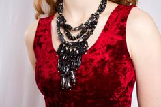Black Coral Statement Necklace / Ombre Draping Coral, $89.00