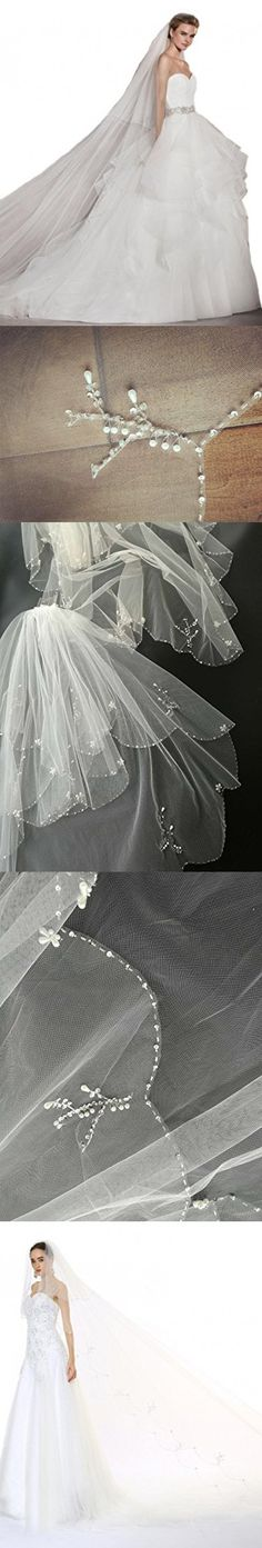 Passat Champagne 1 Tier 3M Cathedral Wedding Veil Sequin Pearl Edge Luxury Crystals Beaded Bling Bridal Veil H62