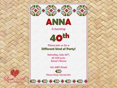 40th Birthday Invitations, 50th Birthday, Party Invitations, Mexican Party, Rsvp, Awesome, Handmade Gifts, Diy, Kid Craft Gifts