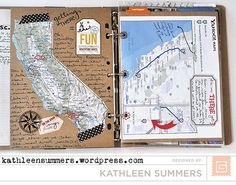 point journal ideas smash book BasicGrey Design Team and Travel Album Part 1 Travel Smash Book, Travel Album, Journal Ideas Smash Book, Journal Inspiration, Smash Book Pages, Travel Journal Scrapbook, Travel Journals, Travel Books, Memories Photo Album