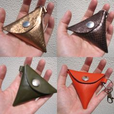 Coin purse leather triangle keychain handmade by bagonebagshop, $15.00