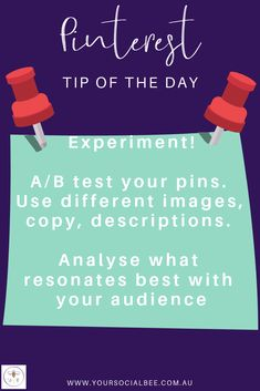 Experiment with your Pinterest strategy.  Your target audience is unique to your business so analyse your results to discover what works best for your audience. Try different images, titles, copy, descriptions etc. How To Better Yourself, Improve Yourself, Tips Instagram, Pinterest Fails, Tip Of The Day, Target Audience, Up And Running, Pinterest Marketing, Business Marketing