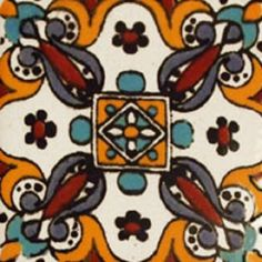 """Mexican tiles in """"Coatzacoalcos"""" style. Rustic with yellow, blue and terra cotta red clay tile design over white background. Shipping from Mexico to the US and Canada is estimated for four weeks. Kitchen Tiles Design, Tile Design, Kitchen Designs, Kitchen Backsplash, Cheap Kitchen Makeover, Mexican Ceramics, Kitchen Remodel Cost, Staircase Makeover, Mexican Tiles"""