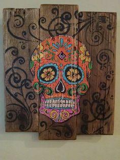 Pumpkin Spice Sugar Skull Rustic Pallet Sign by DesertMamas