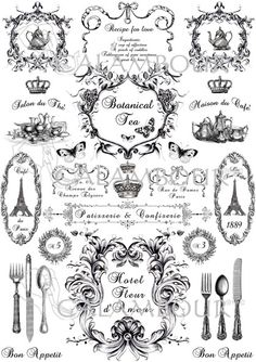 Calambour Mulberry paper for découpage and decoration. Pattern: teapots, cutleries, spoon, fork, knife, crown, Tour Eiffel, writing, butterflies.