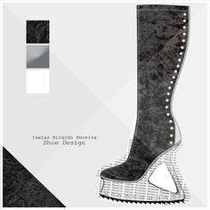 Something darier. Algo um bocadinho mais arrojado #shoedesign #fashiondesign #shoes #fashionshoes #velvet #stretchvelvet #black #studs #wedgeshoes #boots #highboots