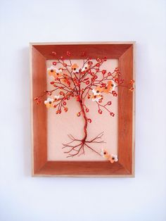 Fall Sculpture Tree In Frame / Wall Decor / Jewelry Wall Orgainizer Holder / Key Holder