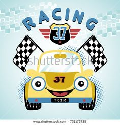 race car vector cartoon illustration Source by eborrasbcn