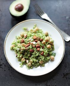 Raw Broccoli Salad with Chickpeas and Almonds