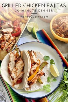 Grilled chicken fajitas are the ideal no-mess very little clean-up meal made in just 30 minutes. Perfect for a quick weeknight meal all contained on the grill! #chickenfajitas #grilling #wholefoods #glutenfree
