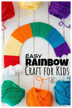 Yarn Crafts For Kids, Fun Crafts To Do, Spring Crafts For Kids, St Patrick's Day Crafts, Summer Crafts, Toddler Crafts, Rainbow Crafts Preschool, Rainbow Activities, Yarn Balloon