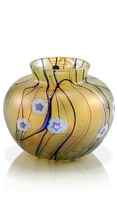 Gold Threaded Small Vase - Okra Glass - Designed by Dean Hopkins