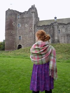 Shawl, handwoven, handmade in Scotland. Castle Doune, Scottish wool, Scottish Yarns, Rain Drops on Roses, Wrap, plaid, tartan by WeavingHomeByHand on Etsy