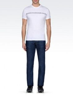 Camiseta Armani Jeans Men's Jersey T-Shirt With Logo Print White #Camiseta #Armani Jeans