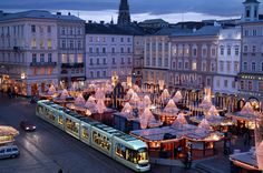 Christmas Market on the main square in Linz, Austria.