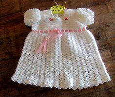 Vintage hand-knit baby dress