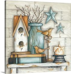 Mary Ann June Premium Thick-Wrap Canvas Wall Art Print entitled Birdhouse on Books, None