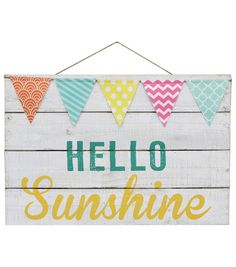 Escape To Paradise Wall Decor With Flags-Hello Sunshine