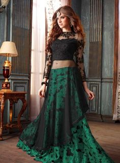 Green designer Indian wedding wear lengha with long black choli H16294