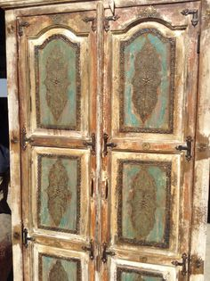 Unique Find:  beautiful antiqued painted armoire