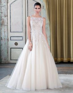 Justin Alexander signature wedding dresses style 9795 Beaded tulle ball gown embellished with a sabrina neckline.