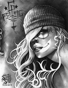 Steve Soto - i ❤ chicano Lettrage Chicano, Chicano Art Tattoos, Chicano Drawings, Body Art Tattoos, Arte Cholo, Cholo Art, Catrina Tattoo, Clown Tattoo, Pinup