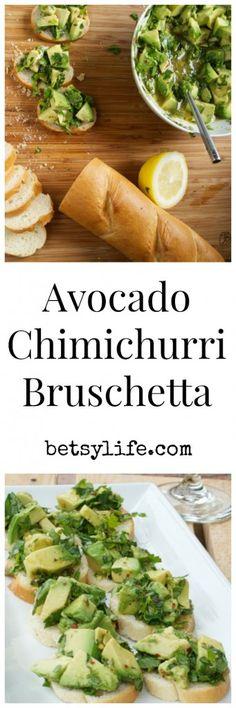 Avocado Chimichurri Bruschetta. The perfect summer appetizer. Seasonal and light!