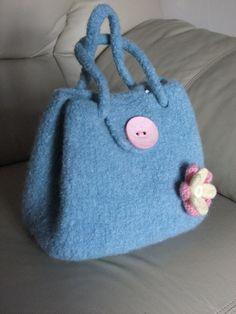 Felted handbag handmade using pure new wool Pale by PollysFeltz, £40.00