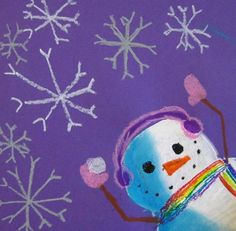 "Cute  ""Snowmen at Night"" style cropped snowman"