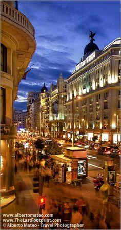 Gran Via at dusk in Madrid, Spain.
