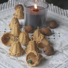 christmas decoration, tree bell, bells, weaving basket, vánoční ozdoba, zvonek, zvoneček, zvonečky, woven, nature, natural