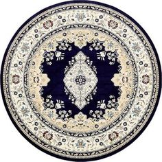 Charlton Home Courtright Navy Blue/Ivory Area Rug Rug Size: Round 10'