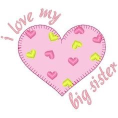 Big Sister Heart Applique - 3 Sizes! | Words and Phrases | Machine Embroidery Designs | SWAKembroidery.com Band to Bow