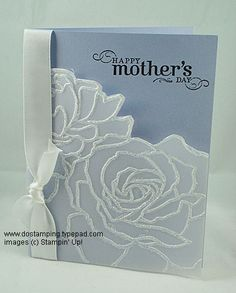Other supplies: Manhattan Flower embossing folder (Stampin' Up) Stampin Up, Flower Texture, Flower Cards, Flower Stamp, Glitter Cards, Embossed Cards, Fathers Day Cards, Sympathy Cards, Cute Cards