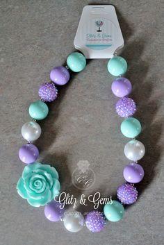 Chunky Bubble Gum Bead Necklace Purple Aqua White Rhinestone www.facebook.com/GlitzGems